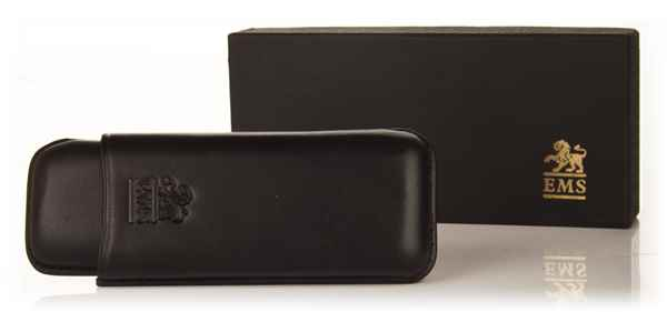 Black Leather Cigar Case - Marevas