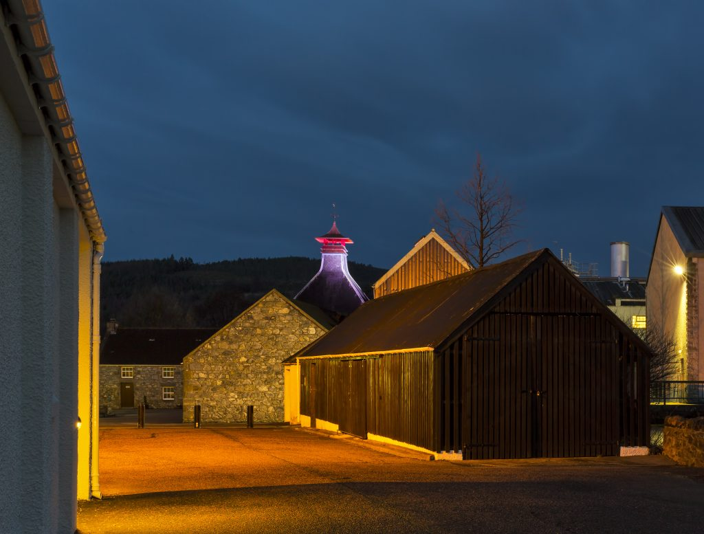 Glenfiddich Distillery at night.