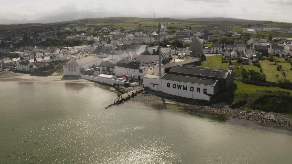 Bowmore ditillery from the air