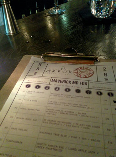 Maverick Mr Fox Menu