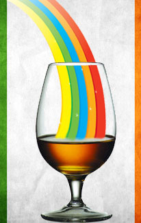 Rainbow in whiskey glass