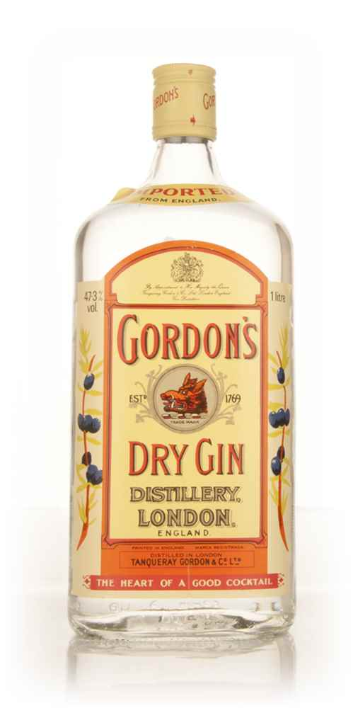 Gordon's Dry Gin 1l - early 1980s