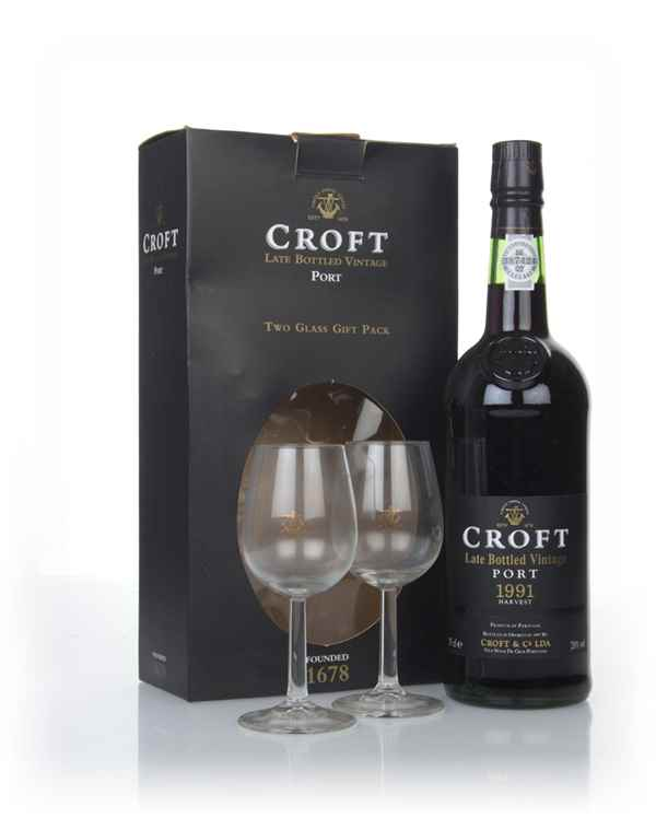 Croft Late Bottled Vintage 1991 Gift Pack with 2x Glasses
