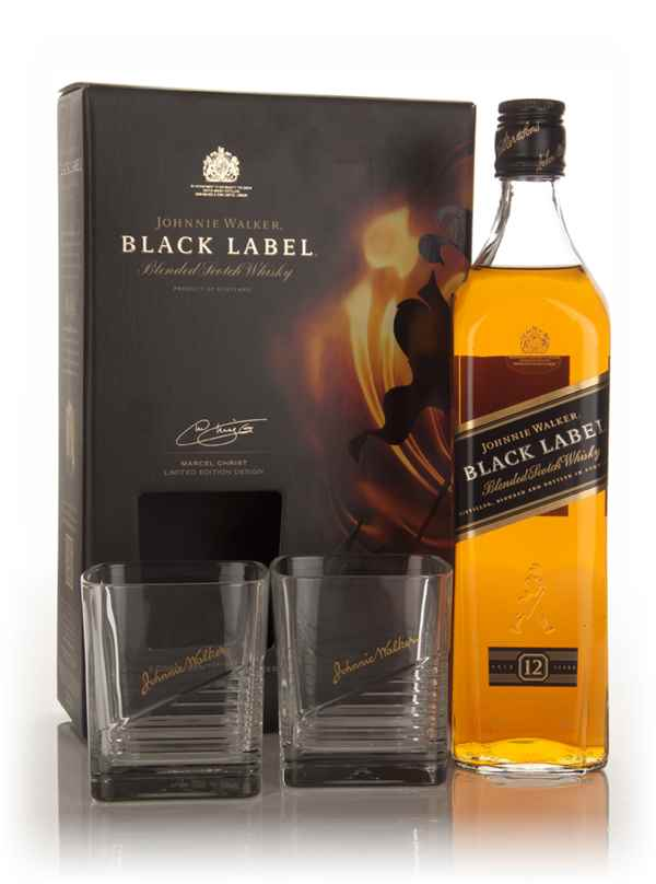 Johnnie Walker Black Label Gift Pack with 2x Glasses