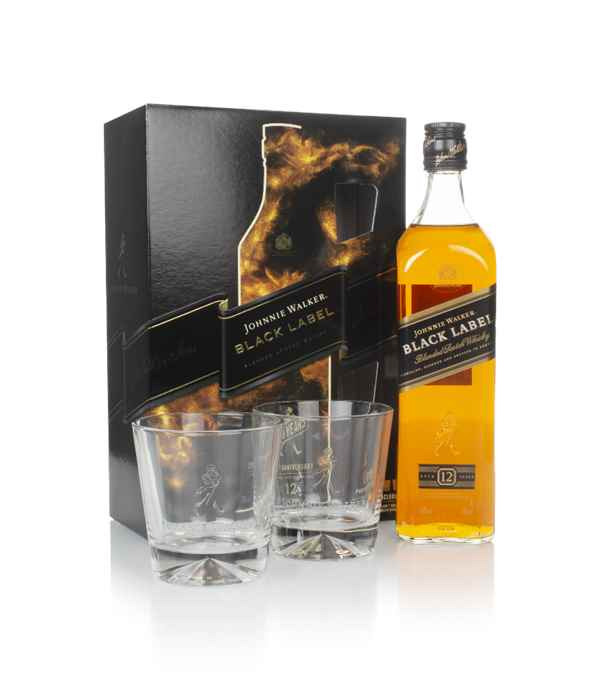 Johnnie Walker Black Label 12 Year Old Gift Pack with 2x Glasses